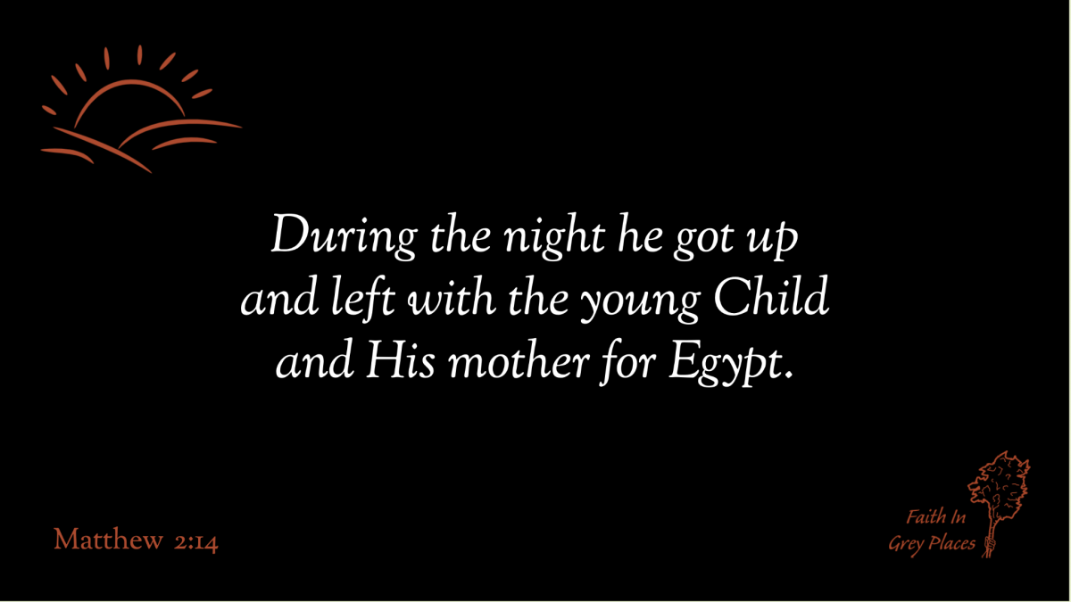 During the night he got up and left with the young Child and His mother for Egypt. - Matthew 2:14