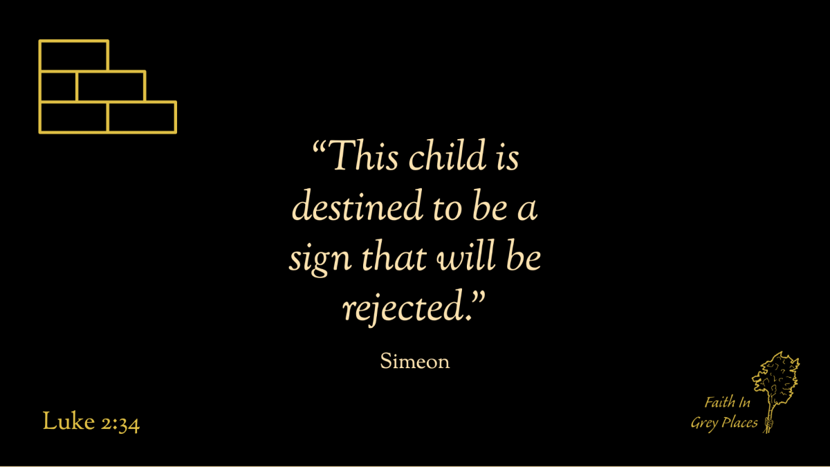 """""""This child is destined to be a sign that will be rejected."""" Simeon, Luke 2:34"""