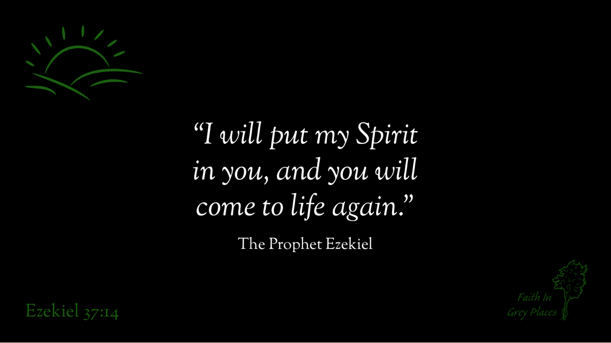 """""""I will put my Spirit in you, and you will come to life again."""" The Prophet Ezekiel, Ezekiel 37:14."""