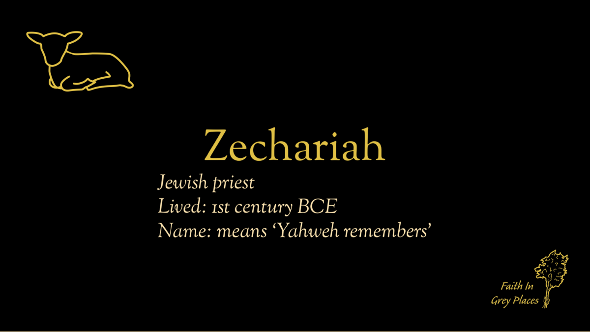 Zechariah; Jewish priest; Lived: 1st century BCE; Name: means 'Yahweh remembers'