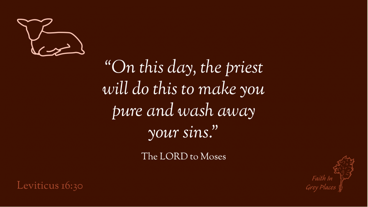 """""""On this day, the priest will do this to make you pure and wash away your sins."""" The LORD to Moses, Leviticus 16:30"""