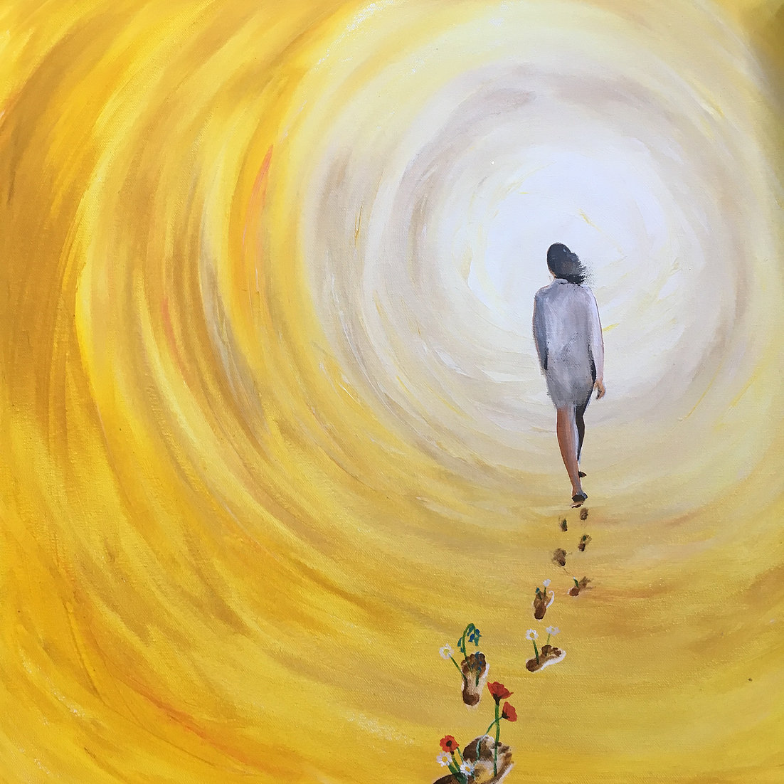Painting of woman walking away towards light, surrounded by yellow hues. Flowers are growing out of her footprints. Art by Helen Yousaf.