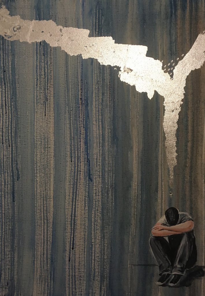 Painting of a man sitting on his haunches, looking down. The backdrop is dark blue and grey. Above him, with its tip leading towards him, is a seam of bright silver. Art by Helen Yousaf.