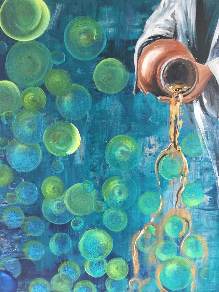 A painting. Turquoise background with green and turquoise circles over it. In the top right corner, a figure in white holds a ceramic jar and pours out golden liquid that splashes over the circles underneath. Original artwork by Helen Yousaf.