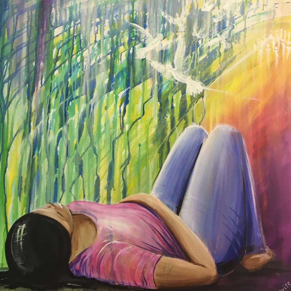 Woman of colour lying on her back with her knees up; background has rainbow colours and doves are flying overhead. Original artwork by Helen Yousaf.