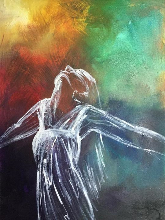 Oil painting. Coloured background with a woman painted in white brushstrokes looking up and arms outstretched. Original art by Helen Yousaf.