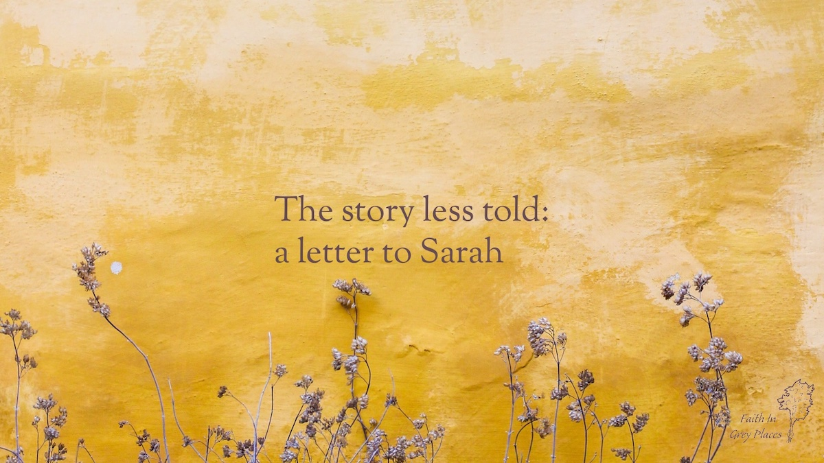 Yellow wall with small purple flowers growing up it. Text over the top: The story less told: a letter to Sarah